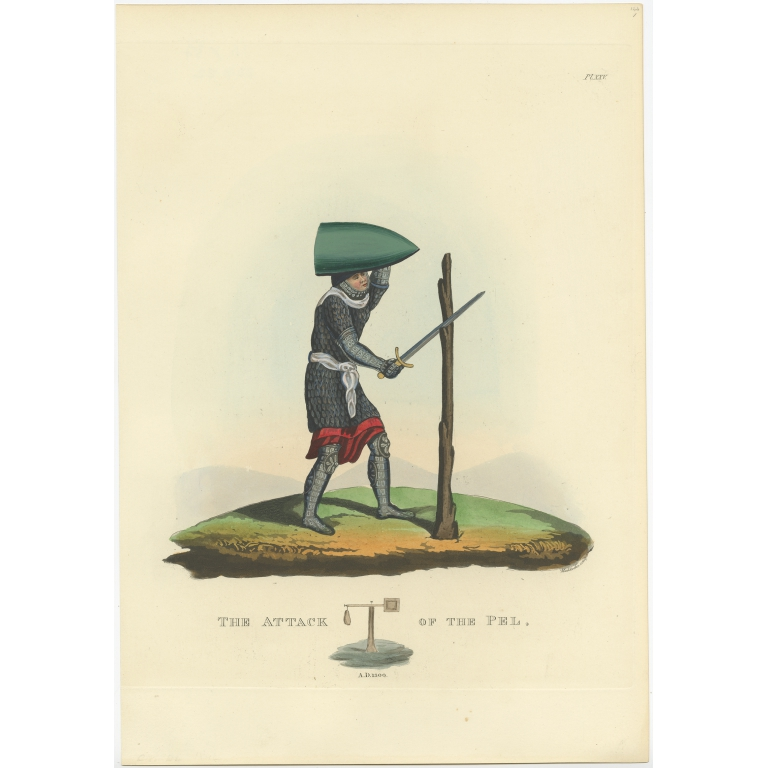 Antique Print of Embossed Armour by Meyrick (1842)