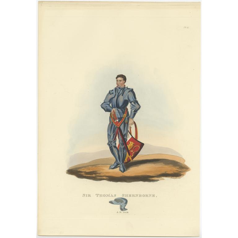 Antique Print of Sir Thomas Shernborne by Meyrick (1842)