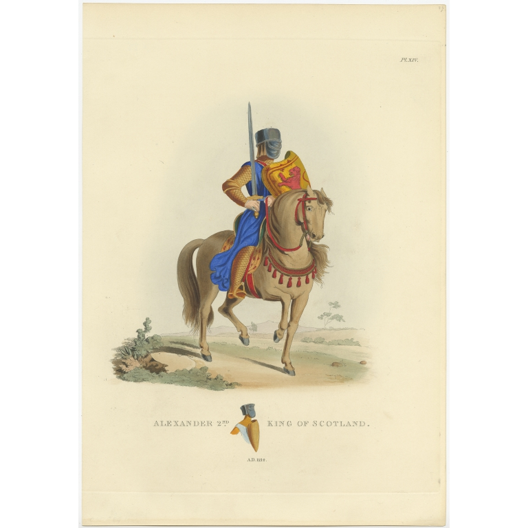 Antique Print of Alexander II King of Scotland by Meyrick (1842)