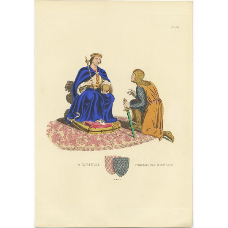 Antique Print of a Knight performing Homage by Meyrick (1842)