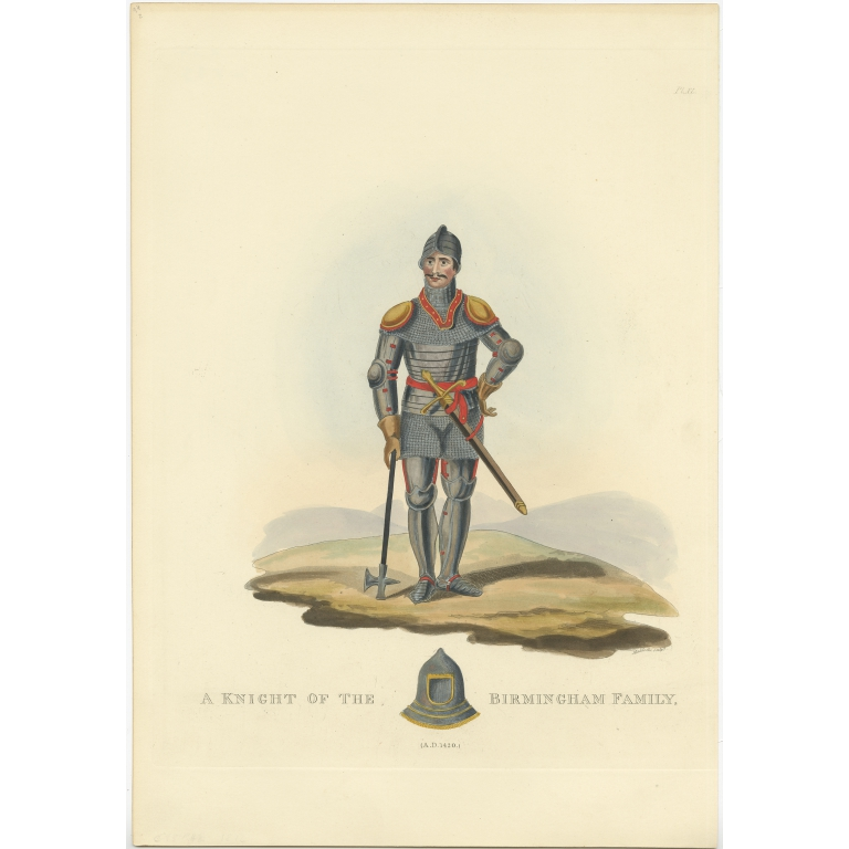 Antique Print of a Knight of the Birmingham Family by Meyrick (1842)