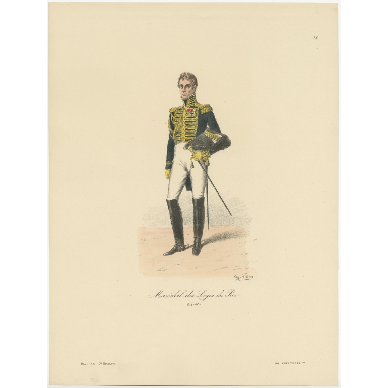 Antique Print of a French Marshal by Titeux (1890)