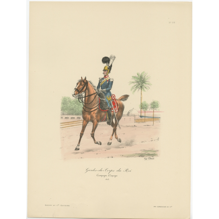 Antique Print of the Guards of the King of France by Titeux (1890)