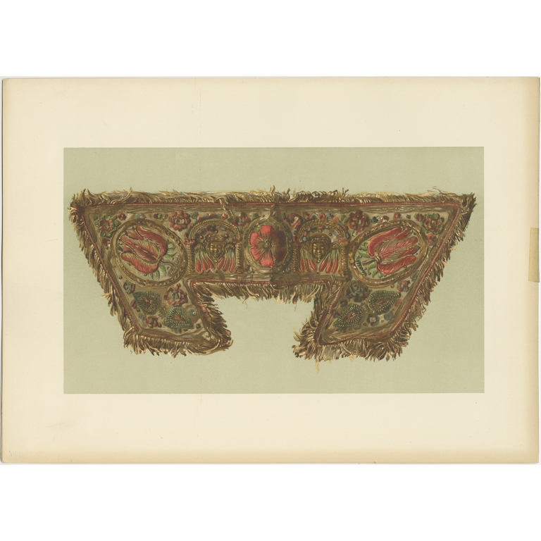 Antique Print of the Cuff of Lord Darnley's Glove by Gibb (1890)