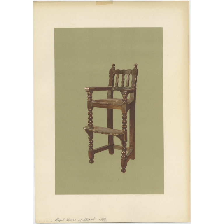Antique Print of the Feeding Chair of King James VI by Gibb (1890)