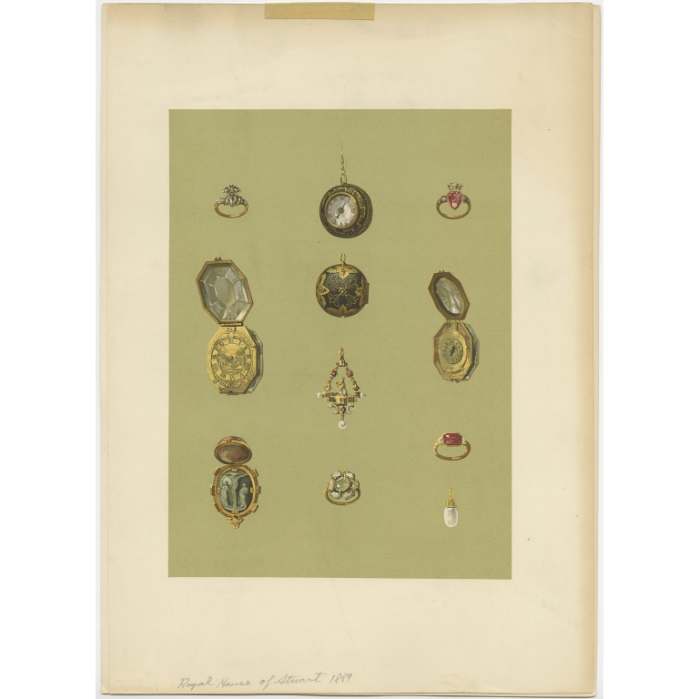 Antique Print of Jewelry of the House of Stuart by Gibb (1890)