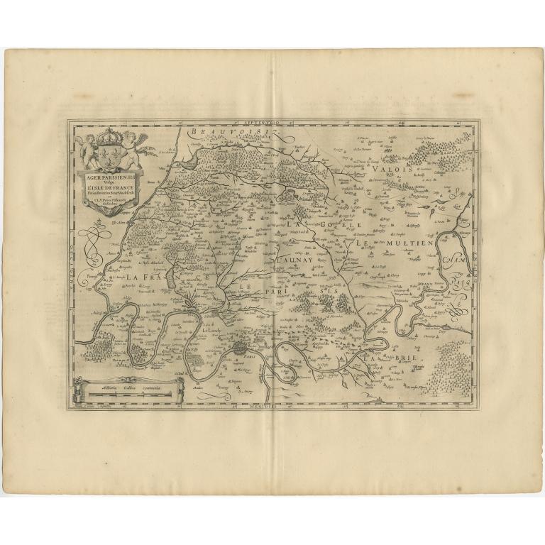 Antique Map of the Region of 'Île de France' by Janssonius (1657)
