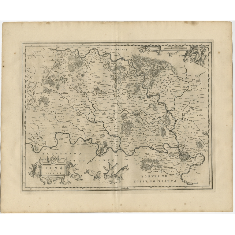 Antique Map of the Region of Brie by Janssonius (1657)