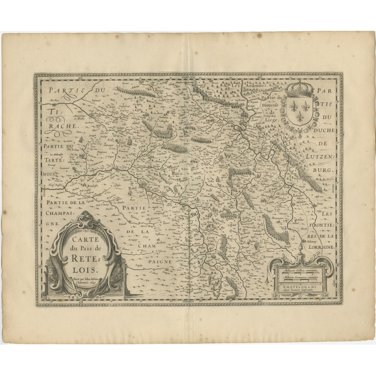 Antique Map of the Region of Rethelois by Janssonius (1657)