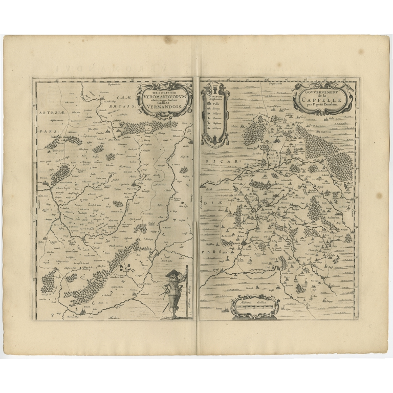 Antique Map of the Region of Vermandois and Cappelle by Janssonius (1657)