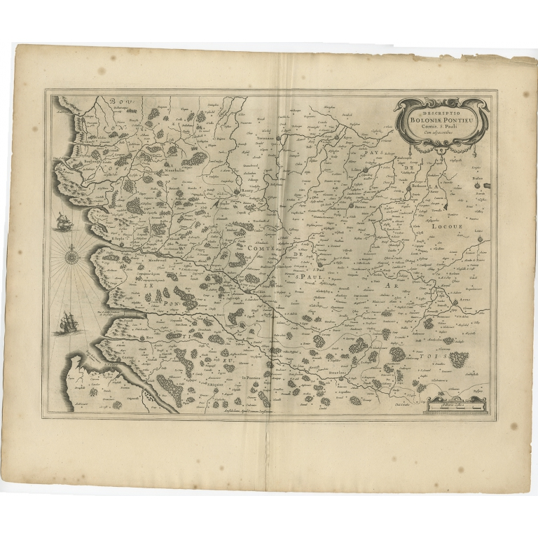 Antique Map of the Coast of Artois by Janssonius (1657)