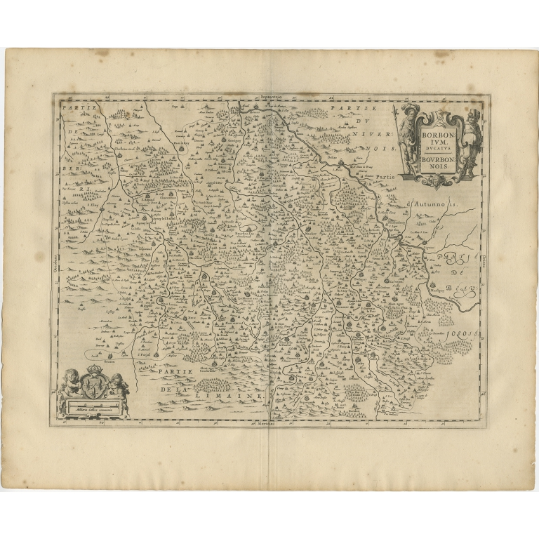 Antique Map of the region of Bourbon by Janssonius (1657)