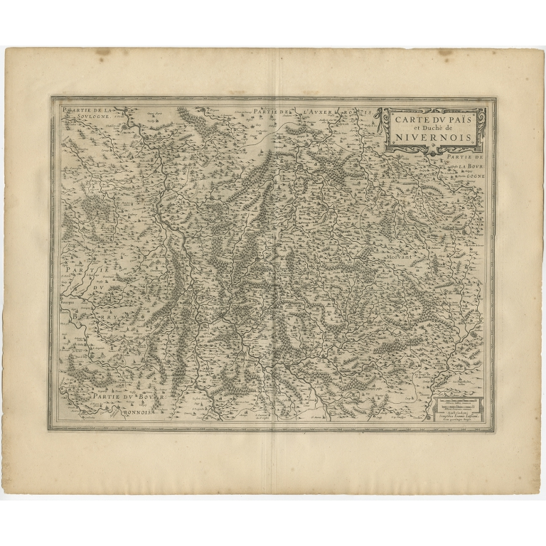 Antique Map of the region of Nivernais by Janssonius (1657)