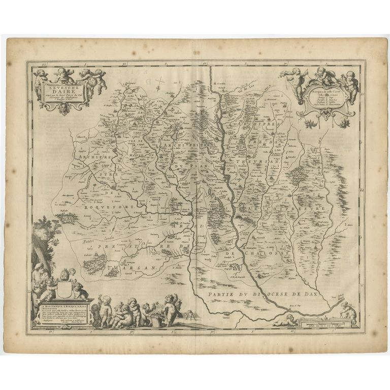 Antique Map of the region of Aire-sur-L'Adour by Janssonius (1657)
