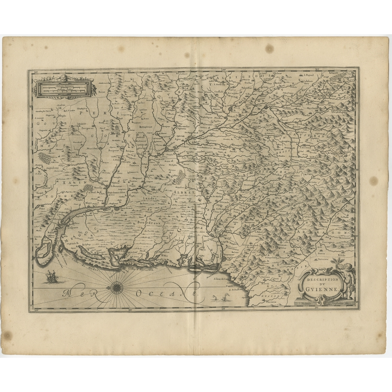 Antique Map of the region of Guyenne by Janssonius (1657)