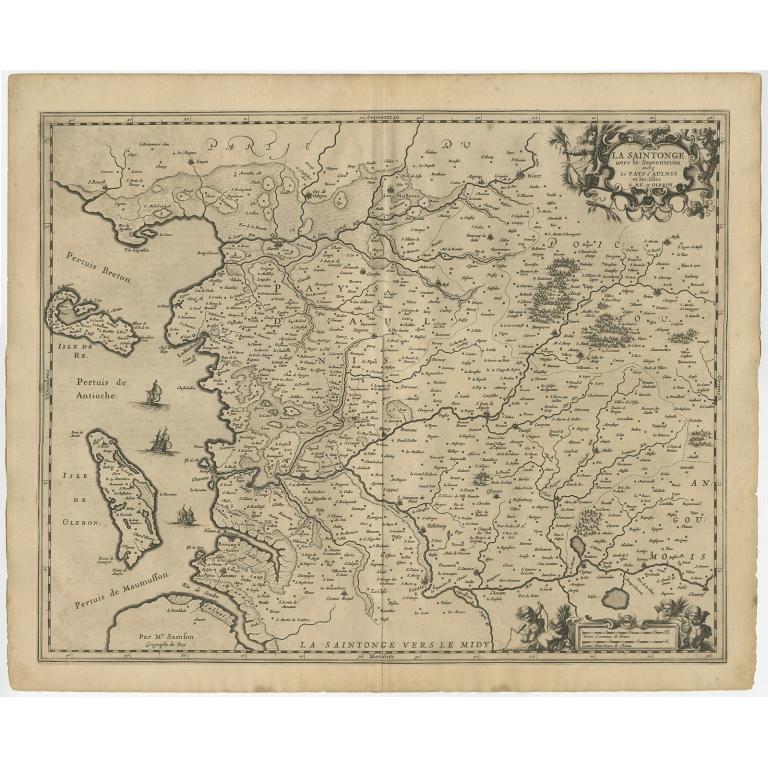 Antique Map of the region of Saintonge by Janssonius (1657)