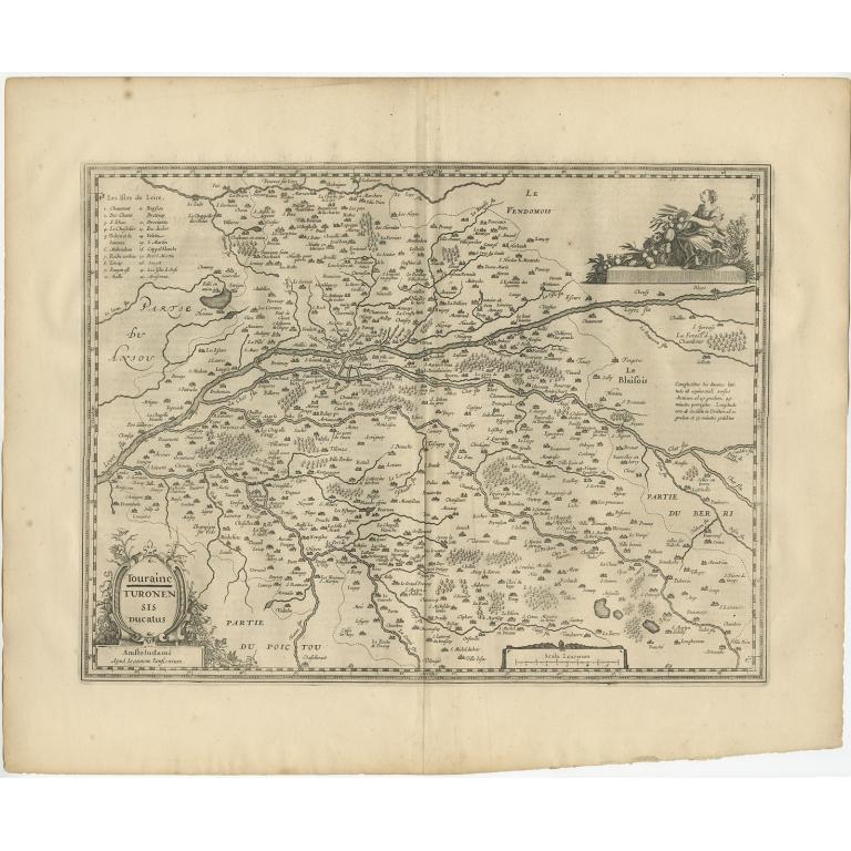 Antique Map of the region of Touraine by Janssonius (1657)