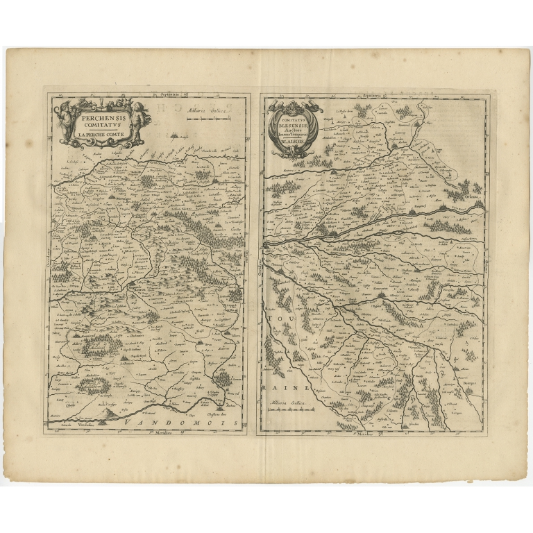 Antique Map of the region of Perce and Blois by Janssonius (1657)