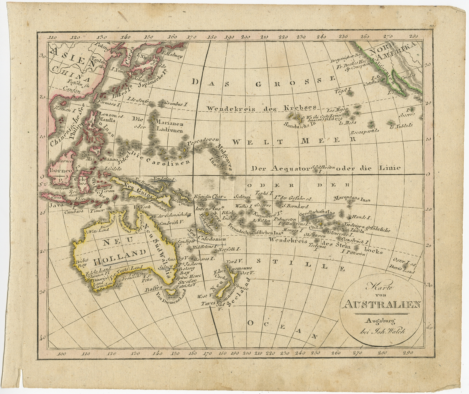 Antique Map of Australia and New Zealand by Walch (1826)