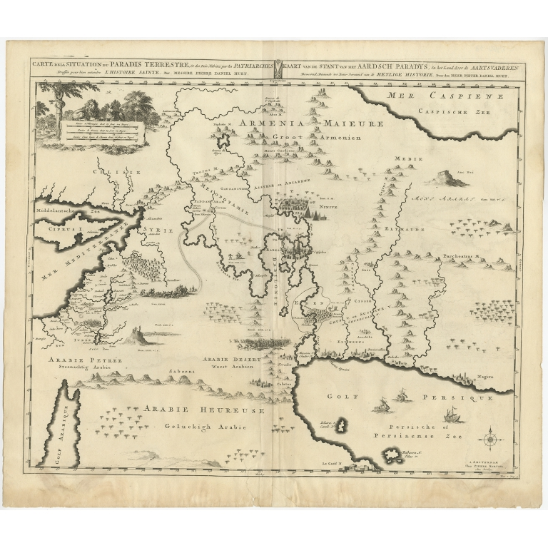 Antique Map of the Middle East by Mortier (1700)
