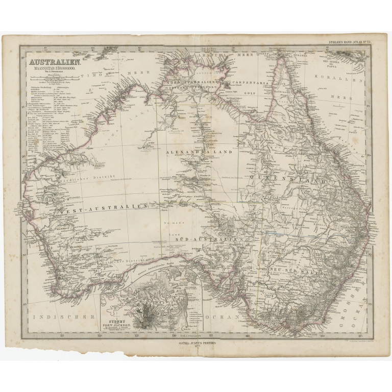 Antique Map of Australia by Stieler (1877)