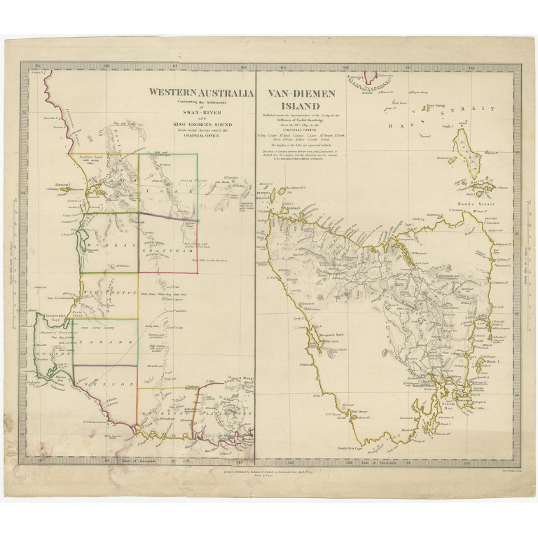 Antique Map of Western Australia and Van Diemen's Land by Walker (1833)
