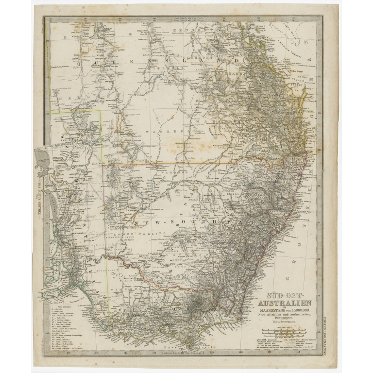Antique Map of South East Australia by Stieler (c.1848)