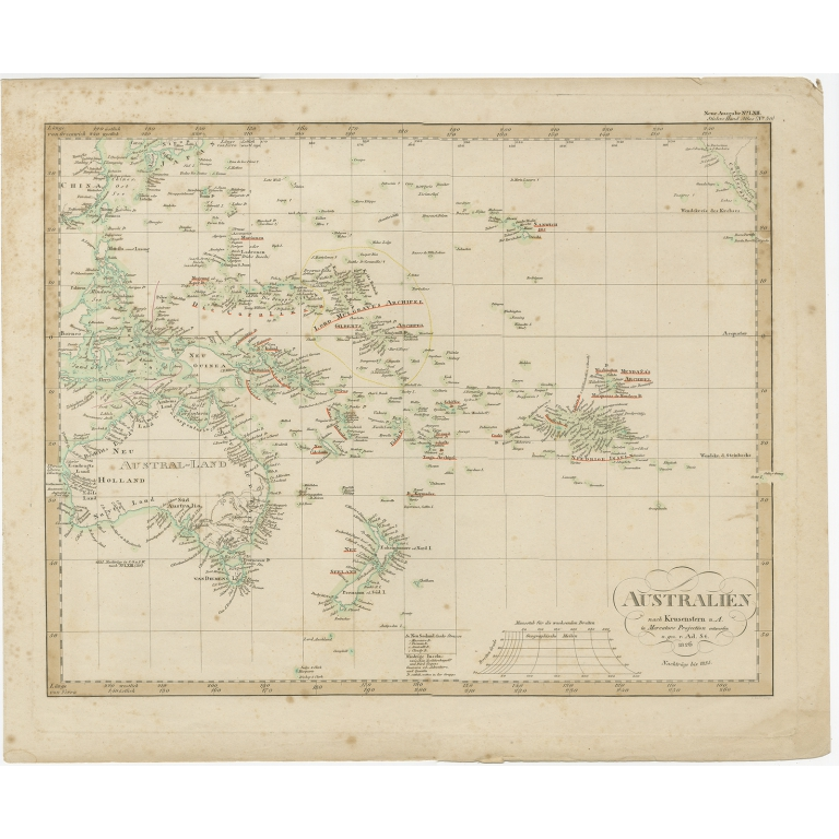Antique Map of Australia and Polynesia by Stieler (1837)