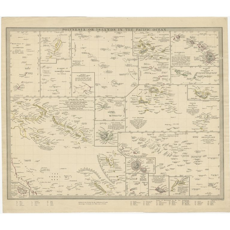 Antique Map of Polynesia by Walker (1840)