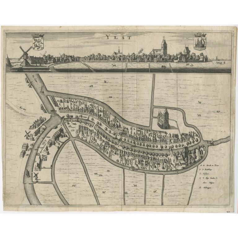 Antique Map of IJlst by Schotanus (1664)