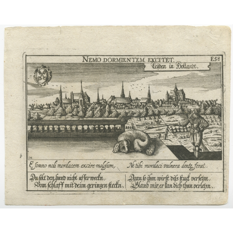 Antique Print of the City of Leiden by Meisner (c.1625)