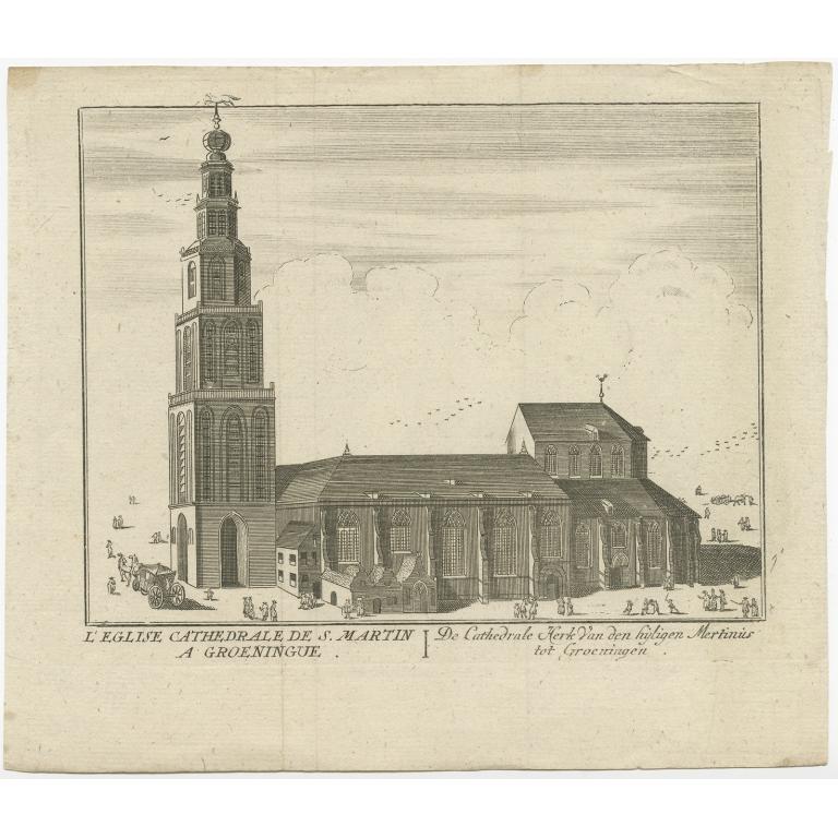Antique Print of the 'Martinikerk' in Groningen made after Harrewijn (c.1750)