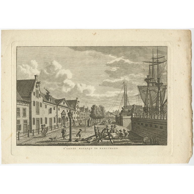 Antique Print of the City of Harlingen by Bendorp (1793)