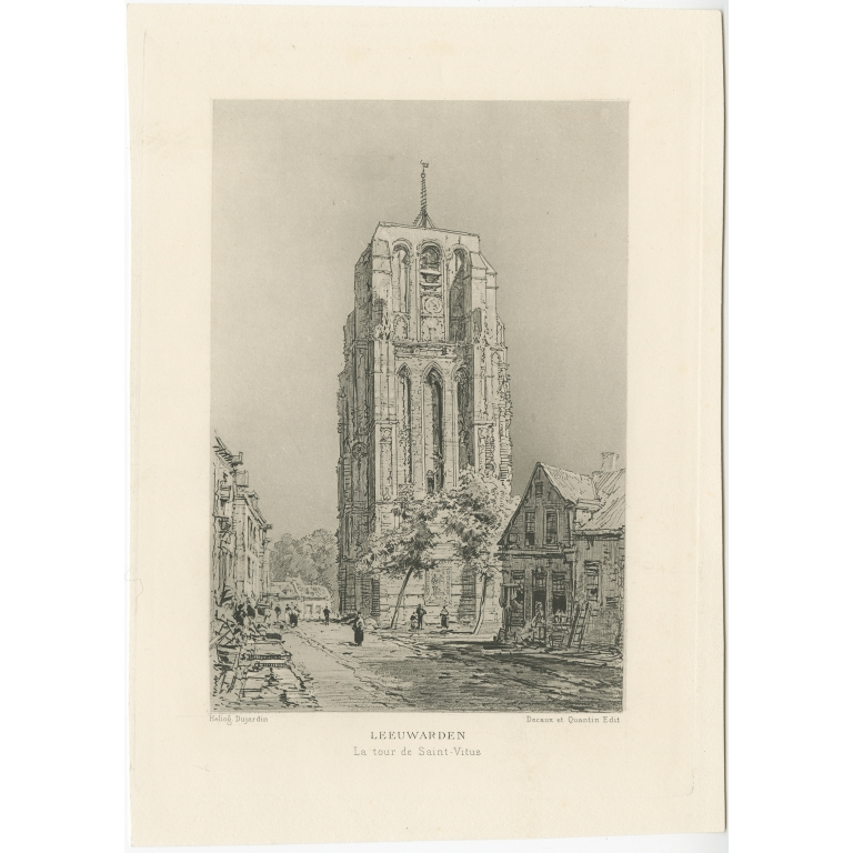 Antique Print of the Oldehove tower in Leeuwarden by Havard (1882)