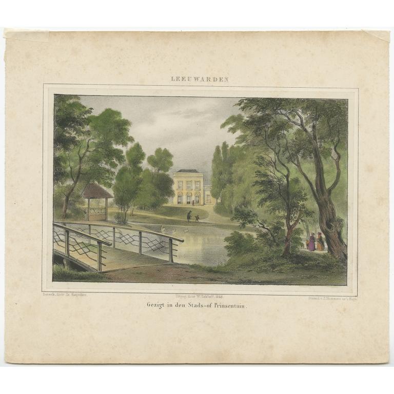 Antique Print of the 'Prinsentuin' in Leeuwarden by Eekhoff (1849)