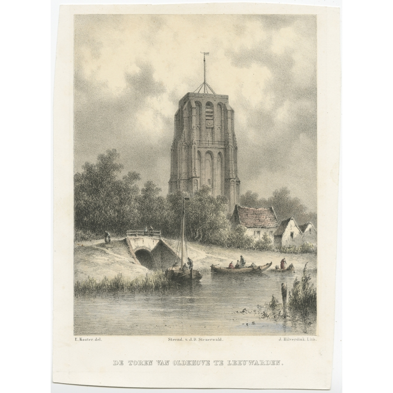 Antique Print of the Oldehove Tower in Leeuwarden by Koster (1858)