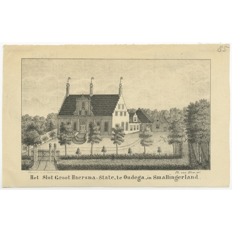 Antique Print of the Groot-Haersma estate in Oudega by Schierbeek (c.1850)