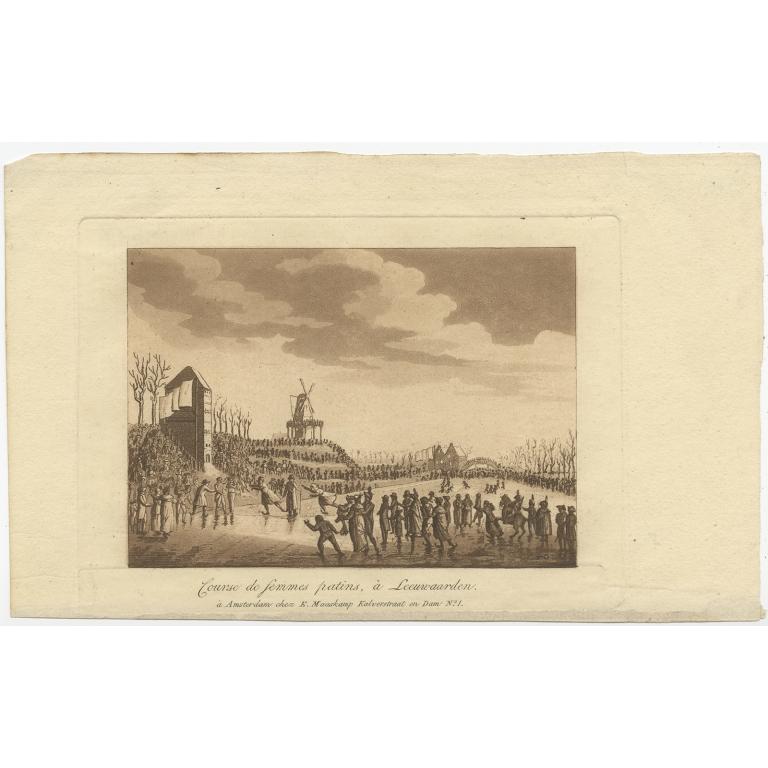 Antique Print of ice skating in Leeuwarden by Maaskamp (1816)