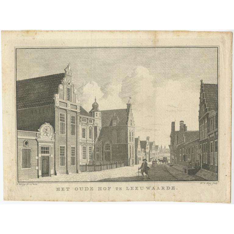Antique Print of the 'Princessehof' in Leeuwarden by De Jong (c.1785)