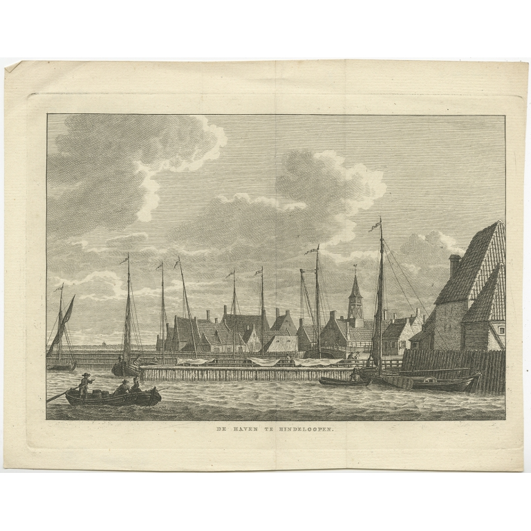 Antique Print of the City of Hindeloopen by Bendorp (1793)