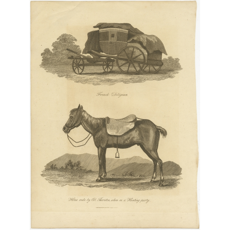 Antique Print of a French Diligence and a Horse by Longman (1805)