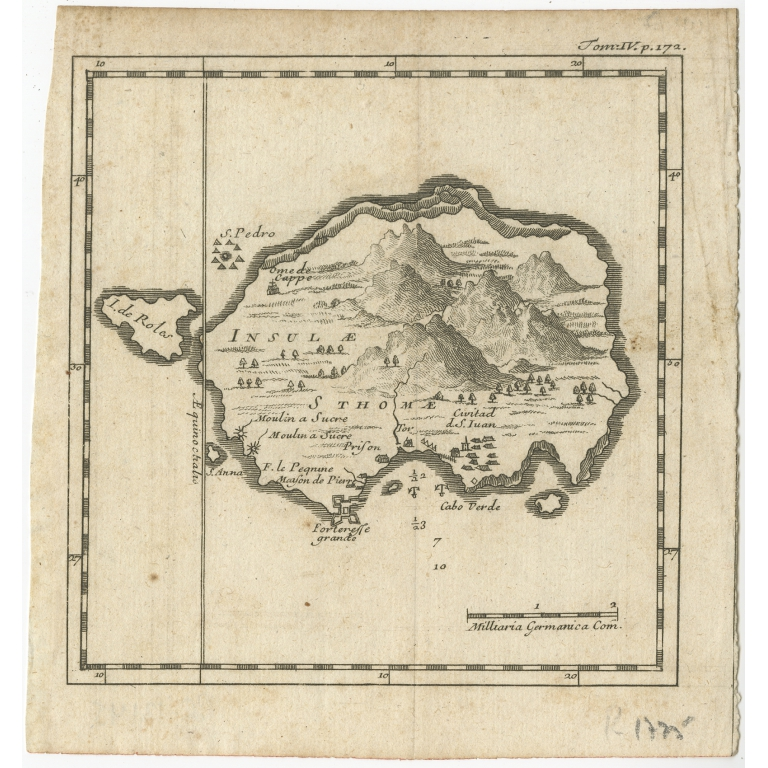 Antique Map of the Island of St. Thomas by Renneville (c.1725)