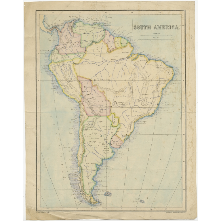 Antique Map of South America by Philip & Son (c.1875)