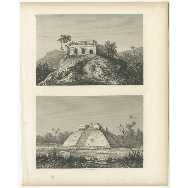 Pl. 18 Antique Print of Ruins in Mexico by Menzel (1857)