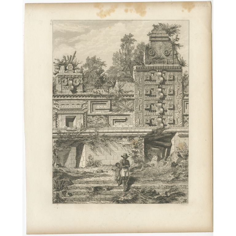 Pl. 24 Antique Print of a Ruin in Peru by Menzel (1857)