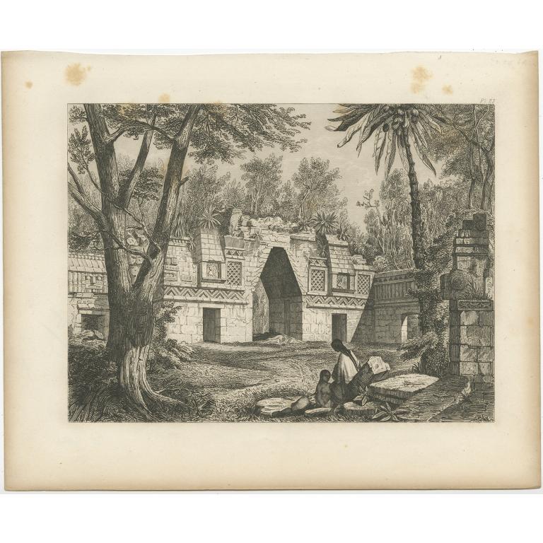 Pl. 23 Antique Print of a Ruin in Peru by Menzel (1857)