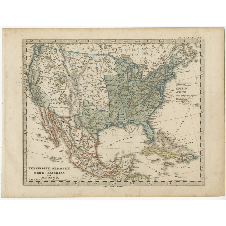 Antique Map of the United States and Mexico by Stieler (c.1860)