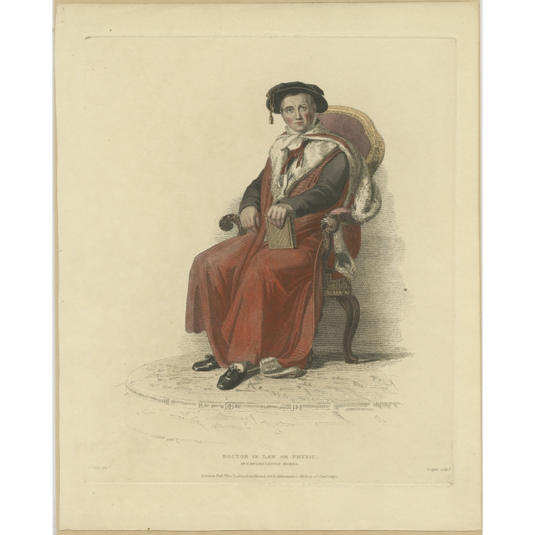 Antique Print of a Doctor in Law or Physic by Ackermann (1814)