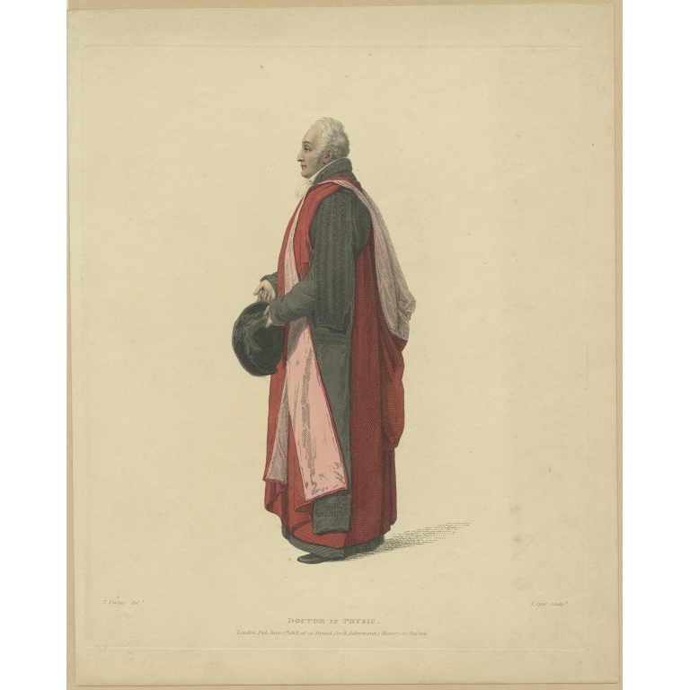 Antique Print of a Doctor in Physic by Ackermann (1813)
