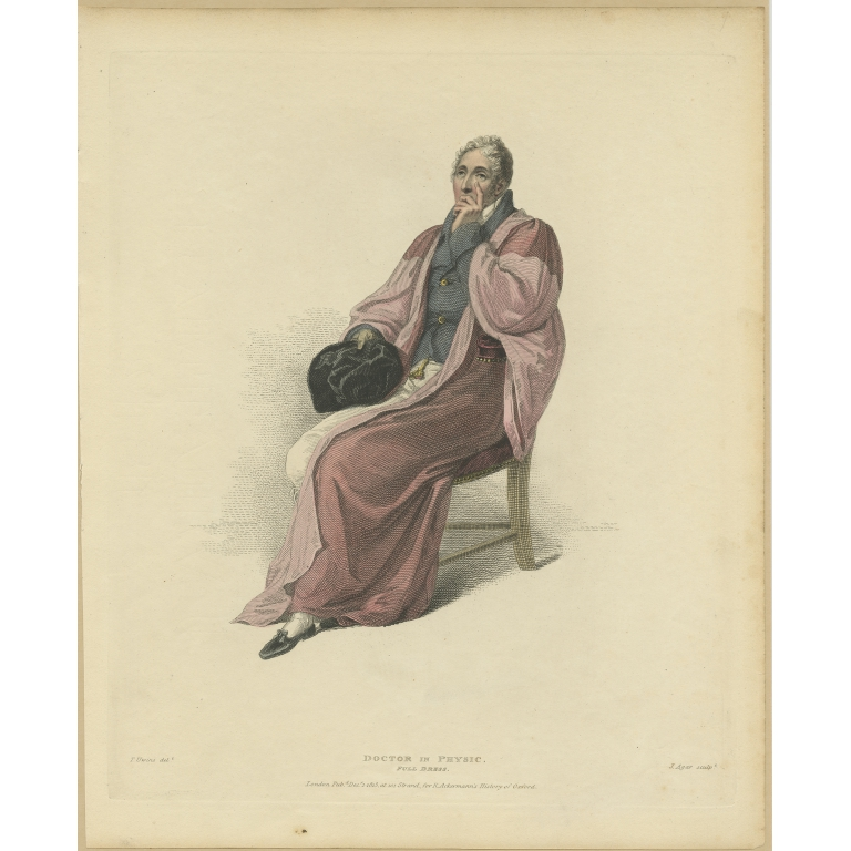 Antique Print of a Doctor in Physic in Full Dress by Ackermann (1813)